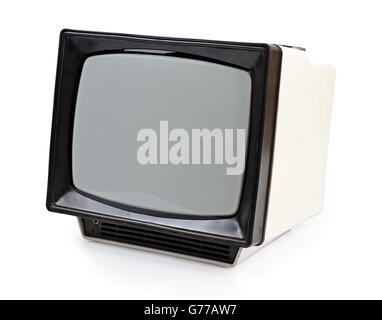 Vintage portable TV set isolated on white - Stock Photo