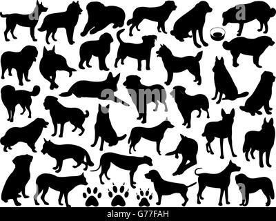 Dogs silhouette collage - Stock Photo