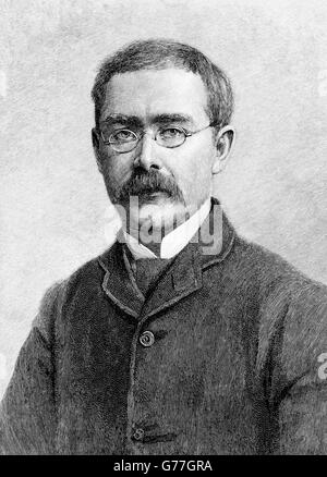 Portrait of the English writer, Rudyard Kipling. Engraving by T. Johnson from a photograph by Elliott & Fry, c.1891. - Stock Photo