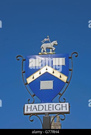 Hadleigh Town Sign Suffolk East Anglia - Stock Photo
