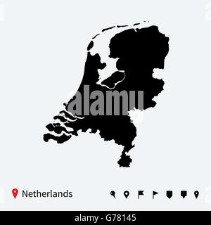 High detailed vector map of Netherlands with navigation pins. - Stock Photo