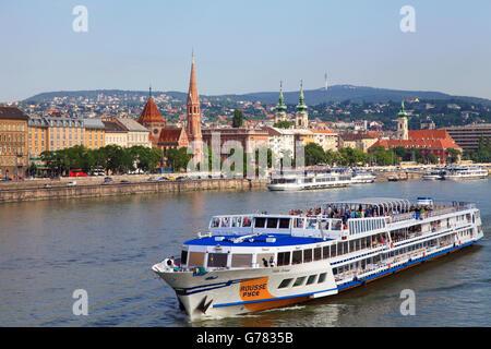 Hungary, Budapest, cruise ship, Danube River, Buda skyline, - Stock Photo