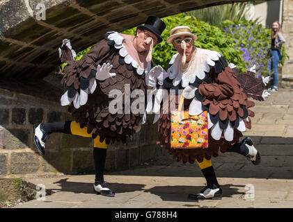 Tap dancers dressed as turkeys in Hebden Bridge as they have their alternative celebrations after the Boxing day - Stock Photo