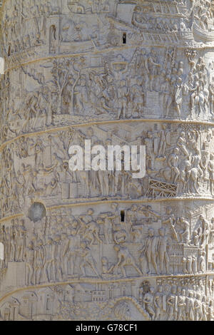 Detail of an Old Monument and Column of Trajan in the Imperial Forums in Rome Italy - Stock Photo