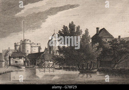 CANTERBURY, Kent. The west gate. GROSE, antique print 1776 - Stock Photo