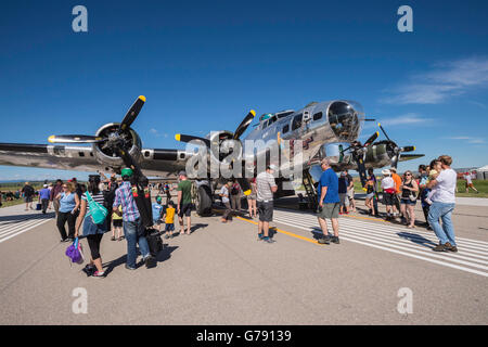 Sentimental Journey, B-17G Flying Fortress bomber, Wings over Springbank, Springbank Airshow, Alberta, Canada - Stock Photo