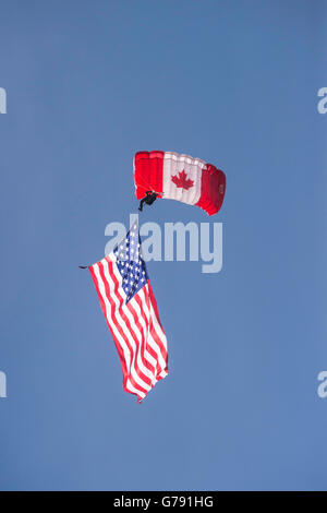Canadian Armed Forces Parachute Team, the SkyHawks, Wings over Springbank, Springbank Airshow, Alberta, Canada - Stock Photo