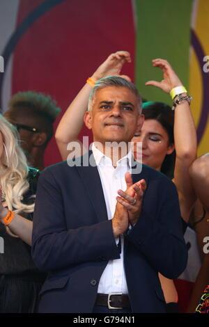 London, UK. 25th June 2016. Sadiq Khan, Mayor of London, speaking at the Pride London Parade in London where the - Stock Photo