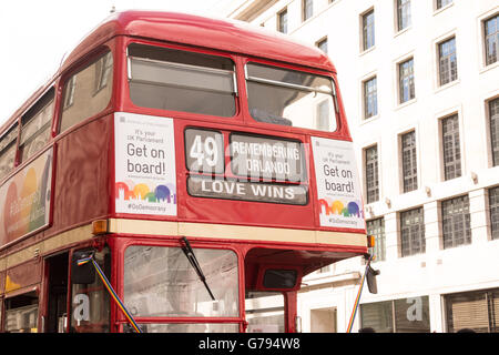London UK 25th June 2016. A vintage London Routemaster bus bears the destination 'Love Wins' in reference to the - Stock Photo