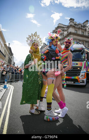 London, UK  25th June, 2016. Pride in London parade. Parade participants in colourful costumes.  Copyright Carol - Stock Photo