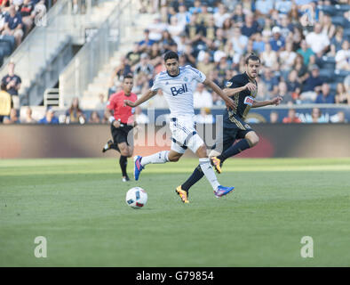 Chester, Pennsylvania, USA. 25th June, 2016. The Whitecaps's ERIK HURTADO (19) in action during the match against - Stock Photo