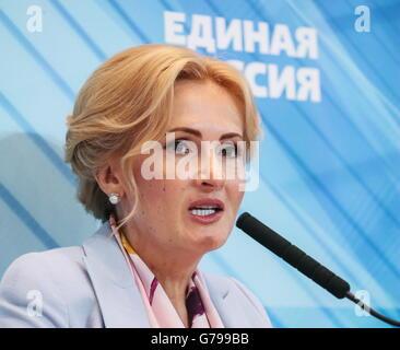 Moscow, Russia. 26th June, 2016. Russian State Duma member Irina Yarovaya addresses the 15th Congress of the Yedinaya - Stock Photo