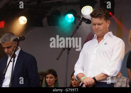 London, England. 25 June 2016. London Mayor Sadiq Khan and US Ambassador Matthew Barzun spoke on stage at Pride - Stock Photo