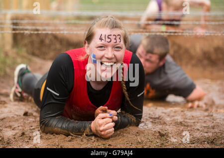 Tough Mudder obstacle course girl laughing on hand and knees crawling through the Kiss of Mud obstacle Drumlanrig - Stock Photo