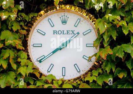 Rolex Clock The All England Tennis Club The Wimbledon Championships 2016 The All England Tennis Club, Wimbledon, - Stock Photo