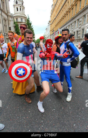 London Gay Pride , men in drag , purple mauve wigs ...