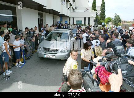 Beckham arrives for Madrid medical - Stock Photo