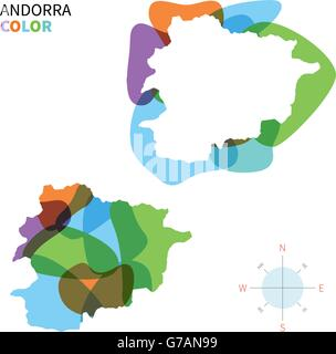 Abstract vector color map of Andorra - Stock Photo
