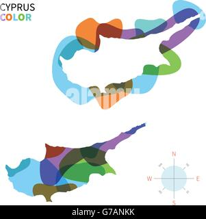 Abstract vector color map of Cyprus - Stock Photo
