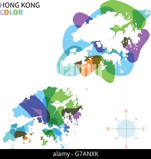 Abstract vector color map of Hong Kong - Stock Photo