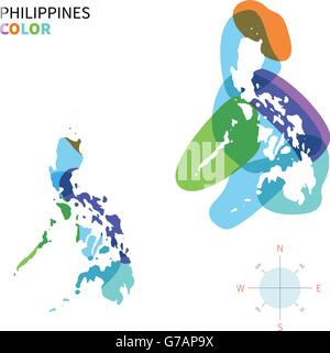 Abstract vector color map of Philippines - Stock Photo