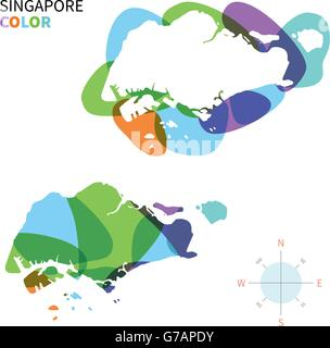 Abstract vector color map of Singapore - Stock Photo