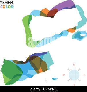 Abstract vector color map of Yemen - Stock Photo