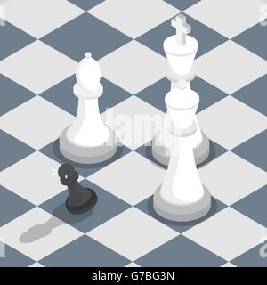 Isometric black pawn surrounded by white king, queen, bishop on the chessboard, facing the challenge, working under - Stock Photo