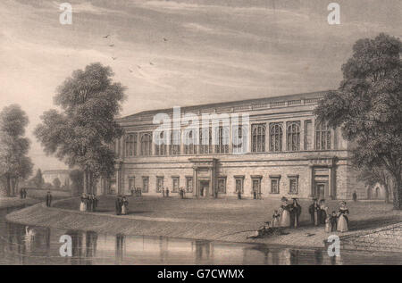 The Wren Library, TRINITY COLLEGE, Cambridge. LE KEUX, antique print 1841 - Stock Photo