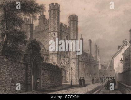 Entrance Gateway, ST. JOHN'S COLLEGE, Cambridge. LE KEUX, antique print 1841 - Stock Photo