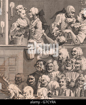 'The Laughing Audience'. After William HOGARTH, antique print 1833 - Stock Photo