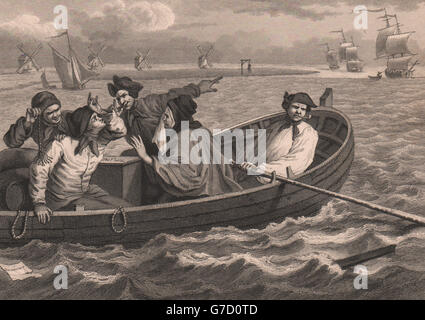 INDUSTRY & IDLENESS. The idle 'prentice sent to sea. HOGARTH, old print 1833 - Stock Photo