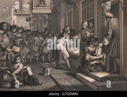 INDUSTRY & IDLENESS. Industrious 'prentice / Master's daughter. HOGARTH, 1833 - Stock Photo