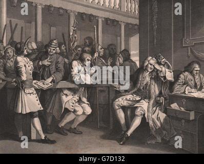 INDUSTRY & IDLENESS. Industrious 'prentice Alderman of London. HOGARTH, 1833 - Stock Photo