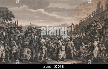 INDUSTRY & IDLENESS. The idle 'prentice executed at Tyburn. HOGARTH, 1833 - Stock Photo