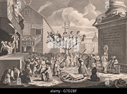 'Emblematical print of the South Sea'. After William HOGARTH, old print 1833 - Stock Photo
