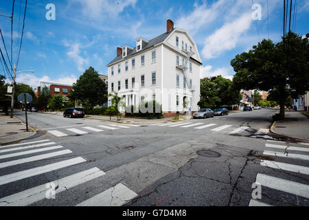 An intersection in College Hill, Providence, Rhode Island. - Stock Photo