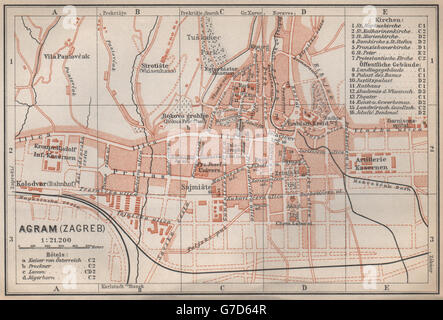 Zagreb agram antique town city plan grada croatia karta baedeker zagreb agram antique town city plan grada croatia karta baedeker 1896 altavistaventures Image collections