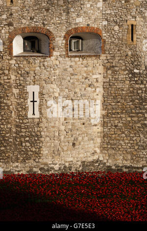 Buildings and Landmarks - Tower of London - Blood Swept Lands and Seas of Red' Installation - London - Stock Photo