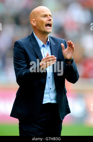 Stale Solbakken, manager of FC Cologne during football test match between FC Cologne 1-2 Arsenal, Rhein-Energie - Stock Photo