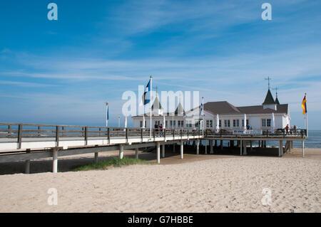 Pier in Ahlbeck, Usedom Island, Baltic Sea, Mecklenburg-Western Pomerania, PublicGround - Stock Photo