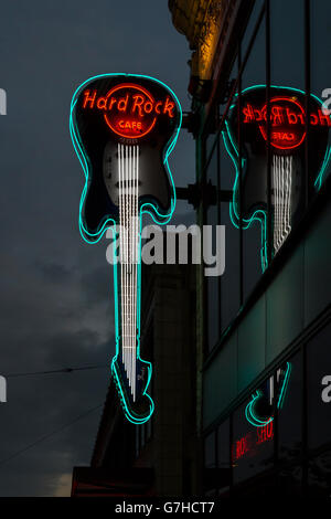 View on the illuminated guitar sign of the hard rock café in Seattle (WA, USA) - Stock Photo