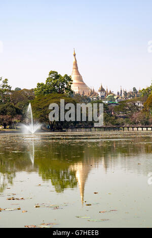 In Yangon, the central stupa of the Paya Shwedagon reflecting on the calm and glossy waters of Lake Kandawgyi (Myanmar). - Stock Photo