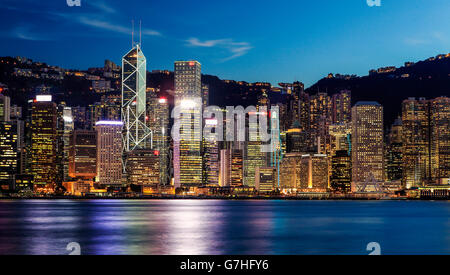 The Hong Kong skyline from Tsim Sha Tsui, Hong Kong. - Stock Photo