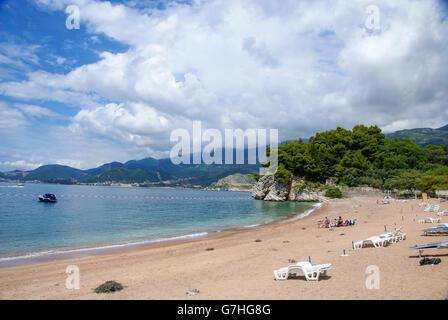 Becici Beach, Becici, Budva Riviera, Montenegro - Stock Photo