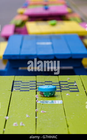 Checker boards set up on picnic tables on Victoria Row in downtown Charlottetown,Prince Edward Island, Canada. - Stock Photo