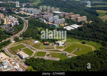 Aerial view, on Biomedical Park west of the Ruhr University Bochum, RUB, Bochum, Ruhr area, North Rhine-Westphalia, - Stock Photo