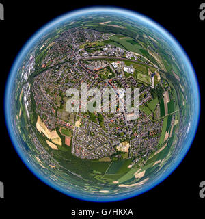 Aerial view, fisheye optics, fisheye lens, overview Bönen, Bönen, Ruhr region, North Rhine Westphalia, Germany, - Stock Photo