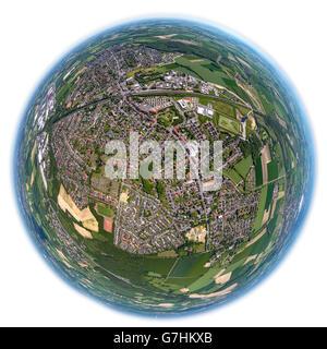 Aerial view, fisheye optics, fisheye lens, overview Bönen, Bönen, Ruhr region, North Rhine Westphalia, Germany, - Stock Photo