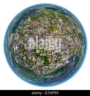 Aerial view, fisheye optics, fisheye lens, overview Gladbeck, Gladbeck, Ruhr Area, North Rhine Westphalia, Germany, - Stock Photo